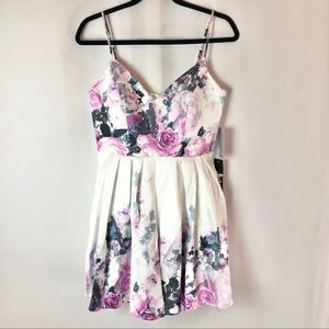 Jump purple floral fit & flare dress size small